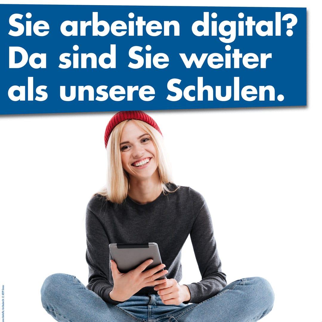 Sie arbeiten digital? Da sind Sie weiter als unsere Schulen.